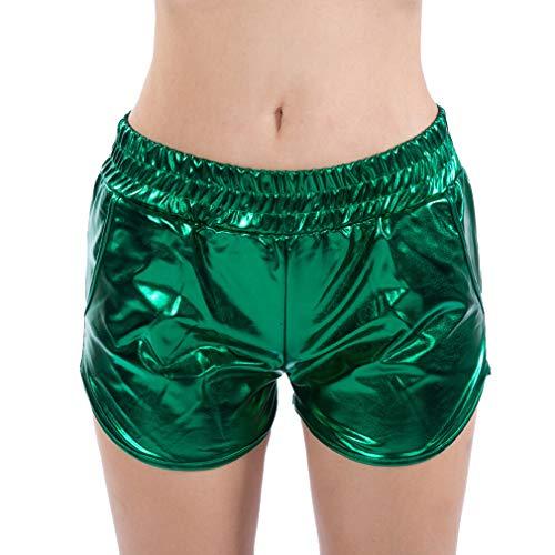 Kunfang Mujeres Pantalones Cortos Brillando Metal Pantalones Cortos de Cuero Suelto Bolsillo Pantalones...