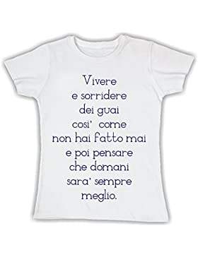 Social Crazy T-Shirt Donna Cotone Basic Super Vestibilità Sagomata Top Qualità - Vivere Vasco Rossi blasco KOM...