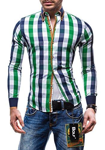 BOLF Langarm Herrenhemd Hemd Figurbetont Freizeit Slim Fit 5719 Grün-Dunkelblau