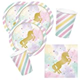 32-teiliges Party-Set goldenes Einhorn - Unicorn sparkle - Teller Becher Servietten für 8 Kinder