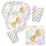 32-teiliges Party-Set goldenes Einhorn - Unicorn sparkle - Teller Becher Servietten für 8 Kinder