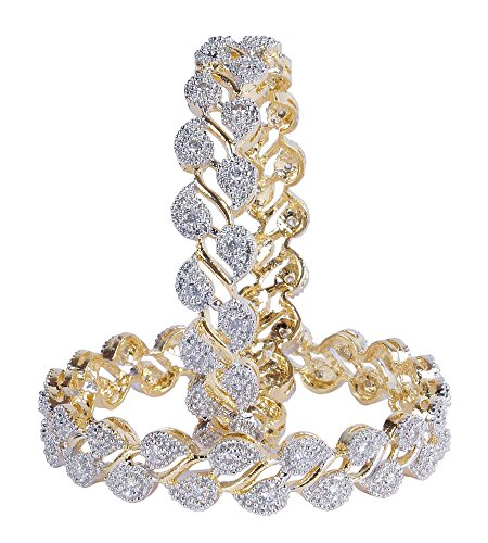 MUCHMORE Partywear Collection Zircon Made Gold Plated Diamontic Bangle Set For Girls & Women (2.40 IN)