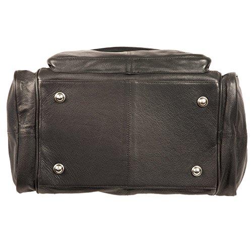 Mittel-Große Reisetasche / Weekender Größe M aus Büffel-Leder, für Damen und Herren, Braun, Hamosons 696 Schwarz