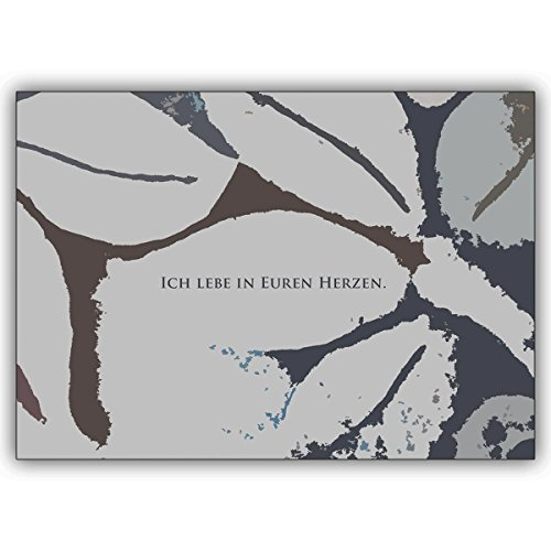 """Preisvergleich Produktbild Direkte Fertigung von 20 Trauer Dankeskarten: Design innen ihr Text. Motiv: """"Ich lebe in Euren Herzen"""" den modern gestalteten Text drucken wir innen - nur Schrift auswählen zzgl 20 Papier Einleger weiß"""