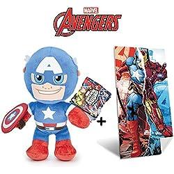 Marvel - Set de Peluche Capitán America 30 cm Calidad Super Soft + Toalla de playa 100% algodón (140x70cm)