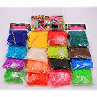 Colorful Loom Bands DIY Refill Rubber Bands Kit 16 Different Colors 9600PCS 384 S Clips 16 Hooks by Vosyoung
