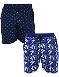 Vimal Navy Blue Printed And Camouflage Royal Blue Shorts For Men(Pack Of 2)