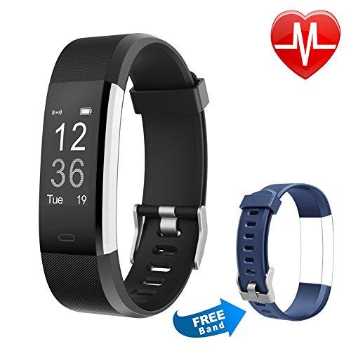 Letsfit Fitness Armbanduhr mit Herzfrequenz, Fitness Tracker, IP67 Wasserdicht Bluetooth Sportuhr mit GPS Aktivitätstracker Schrittzähler, Schlaf Monitor, Kalorienzähler, Pulsuhr für Android/iOS (Nexus Android)