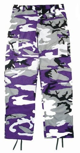 Camouflage Military BDU Pants, Army Cargo Fatigues (Purple Camouflage) Bdu Sky Blue Camo