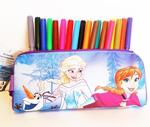 Estuche rectangular escolar FROZEN (Disney) 100% polyester, cremallera de metal (20 x 8 x 6 cms) + 18 rotuladores multicolores