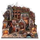 Holyart Borgo Antico con Cascata e Mulino per presepe 70x80x60 cm Stile Napoletano 700