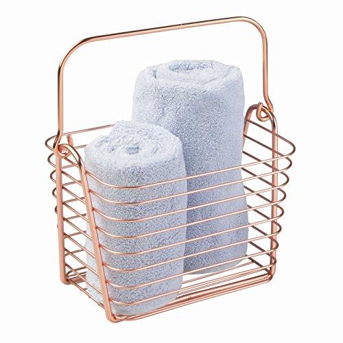 InterDesign Classico Cesta de almacenaje, cesto de Alambre de Metal pequeño, Caja con asa para Accesorios de baño y Juguetes, Color Cobre