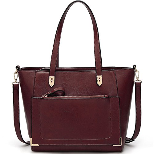 TcIFE Damen Handtaschen Umhängetasche Taschen Handtasche Shopper Rotwein