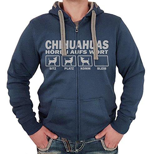 CHIHUAHUA mexiko klein LANGHAAR Kurzhaar (Chiwawa) - JACKE HÖREN AUFS WORT Motiv Siviwonder Unisex HUND Kapuzen Zip Pullover Sweatjacke Hunde denimblau S Mexiko-jacke