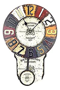 OROLOGIO DA PARETE PENDOLO DESIGN KENSINGTON STATION SHABBY LOOK VINTAGE - Tinas Collection