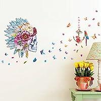 Zooarts Flores y Pájaros de calaveras en 3d mariposa extraíble vinilo adhesivos Mural de adhesivo de pared Kids
