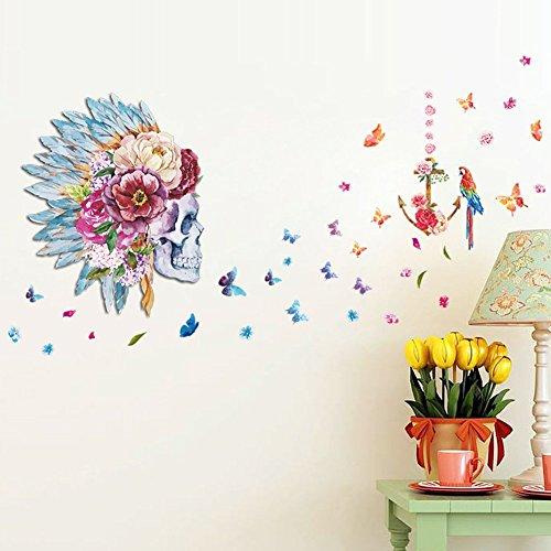 Zooarts Flores y Pájaros de calaveras en 3d mariposa extraíble...