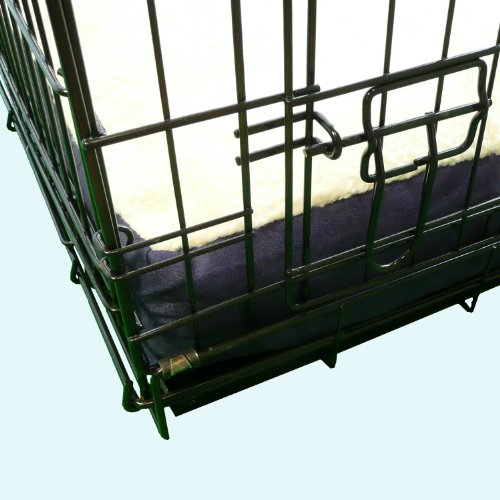 Ellie-Bo-Dog-Bed-with-Faux-Suede-and-Sheepskin-Topping-for-Dog-Cage-Crate-Small-24-inch-Blue