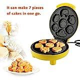 EBTOOLS Macchina per Cake Pop,Cupcake Maker,Macchina Automatica per Waffle, per Macchina Muffin/Ciambella, concon 7 Fori, Piastre Antiaderenti, 24 * 21 * 12.5 cm,Giallo