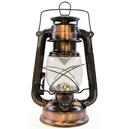 Lloytron 15x LED Storm lamp Lantern - Copper, Glass,
