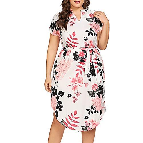 Up Mädchen Jahre Pin 50er Kostüm - VJGOAL Damen Kleid, Frauen Plus Size Mode V-Ausschnitt Floral Maxi Abend Cocktail Party Hochzeit Boho Strand Frühling Sommerkleid (4XL / 50, U-Gürtel-Weiß)