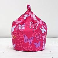 Textile Warehouse XL Childrens Kids Girls Cotton Butterflies Pink Cotton Chair Beanbag Bean Bag