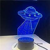wangZJ 3d Optical Illusion Tischlampe/Kinderschlaf 3d Nachtlicht / 7 wechselnde Farben Touch Night Light/UFO Alien Spacecraft