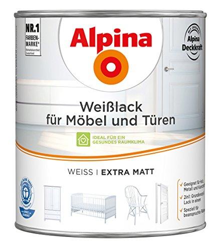 Preisvergleich Produktbild ALPINA Weißlack für Möbel und Türen 2 Liter Farbe Weiss Extramatt