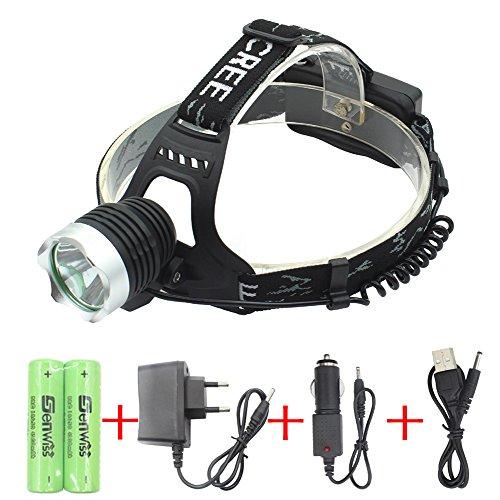 Preisvergleich Produktbild WolfWay 2000 Lumen Cree XM-L T6 LED Kopflampe Aluminiumlegierung Stirnlampe Kopf Fackel Lampenlicht Taschenlampe 3 Modus starkes helles / normales helles / blinkendes SuperT6 weißes Licht