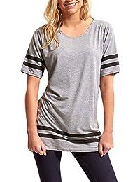 Familizo Femmes Sport Pull Shirts, Blouse Rayée à Manches Courtes (S, Gris)