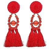 YAZILIND Schmuck westlich übertriebene Art Art und Weisetroddelkorn-hängende Bolzen ohrringe für Frauen (rot)