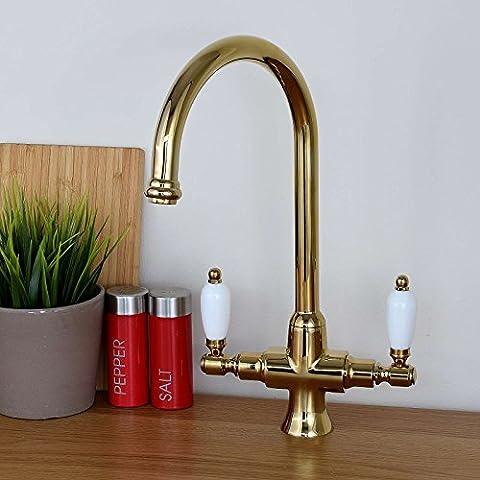 ENKI Kitchen Sink Mixer Tap Twin Lever Gold DORCHESTER