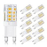 Ascher 10er Pack G9 LED Lampe,3W G9 LED Birnen, Ersatz für 25W Halogen Lampen, 250LM,Warmweiß,360° Abstrahlwinkel