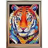 LUONAFEI Pittura A Mosaico Kit per Pittura Fai-da-Te Diamante Pittura A Punto Croce Diamante Pieno Testa di Tigre Studio Tigre 60X80Cm