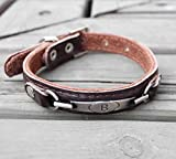 SANVINGLE Red Apricot Qualität Weiches Leder Hundehalsband, Kaffee, 15 mm