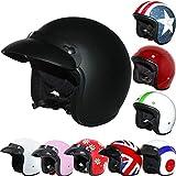 Leopard LEO-604 Open Face Motorcycle Motorbike Helmet Road Legal - #01 Matt Black