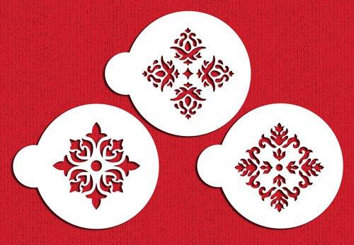 C326Vier-Punkt Rosetten Cookie Schablonen, beige/halbtransparent (Rosette Cookies)