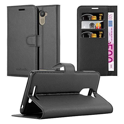 Cadorabo Hülle für BQ Aquaris U Plus - Hülle in Phantom SCHWARZ - Handyhülle mit Kartenfach und Standfunktion - Case Cover Schutzhülle Etui Tasche Book Klapp Style