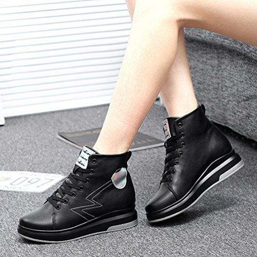 JRenok Chaussure de Sport Mode Basket Casual Femme Talon Compensé Caché Haute Tige Chaussure Chaude D'Hiver Noir
