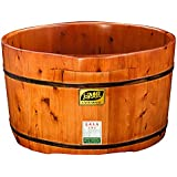HINEW barril de cedro baño de pies Spa cuenca de madera casa de madera doble (diámetro grande) , double barrel red