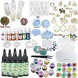 Joligel 5 Resina epossidica Trasparente con 15 pigmenti Colorati 31 stampi e Lampada UV 24 Glitter e Fiori e cornici, Creazione di Gioielli Orecchini Bracciali Anelli Pendenti, con pinzette