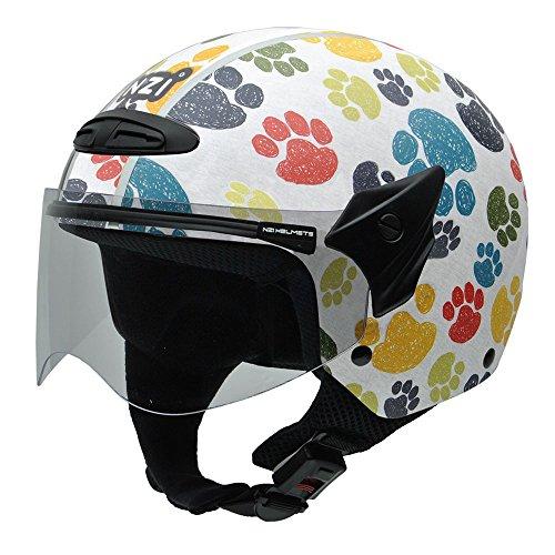 NZI 050269G707 Helix Jr Graphics Pawprints Motorcycle Helmet, Design Colorful Animal Footprints, Size 50-51 (S)