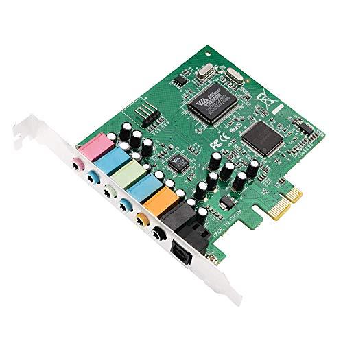 QNINE PCIe Soundkarte 7.1, Interne Soundkarte mit digitalem S/PDIF Ausgang für PC Windows 10, 7.1 Kanal PCIe Audiokarte, 3D Surround Stereo, Unterstützung von Windows XP / 7/8