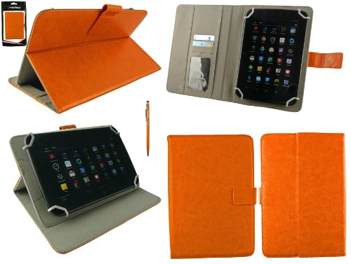 Emartbuy® CSL Panther Tab 7 Zoll Windows Tablet Universalbereich Orange Multi Winkel Folio Executive Case Cover Wallet Hülle Schutzhülle mit Kartensteckplätzes + Orange 2 in 1 Eingabestift