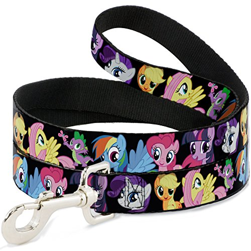 buckle-down-wide-15-ponies-close-up-black-dog-leash-4
