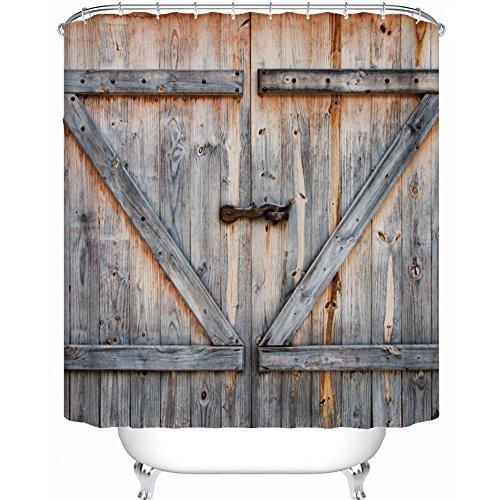 Badezimmer-Duschvorhang-Sätze, 3D gedrucktes Retro Weinlese-hölzernes Tür-Muster, wasserdichtes Mehltau-beständiges, mit Haken. (180*200cm)