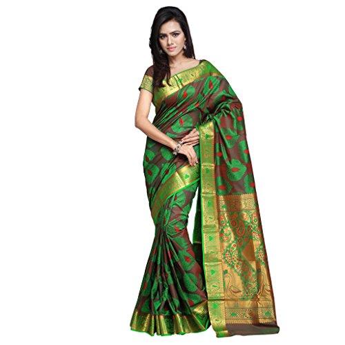 Varkala Silk Sarees Women\'s Art Silk Kanchipuram Saree With Blouse Piece(JP7108PGRD_Green & Red)