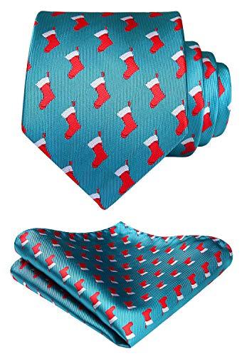 Hisdern Pour des hommes Noel Cravate Parti tisse Cravate & Carre de poche S