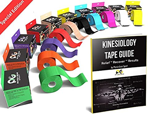 Kinesiology Tape (2 Pack or 1 Pack) Physix Gear Sport, 5cm x 5m Roll Uncut, Best Waterproof Muscle Support Adhesive, Physio Therapeutic Aid, Free 82pg E-Guide - RED 1 PACK