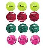 Kosma 12 Tennisbälle Pet-Kugeln | Hund | Spielzeug Spielzeug Ball für PET-Ausbildung - in leuchtenden Farben mit Mesh Tasche - (3 Gelb, 3 Grün, 3 Rot, 3 Pink)